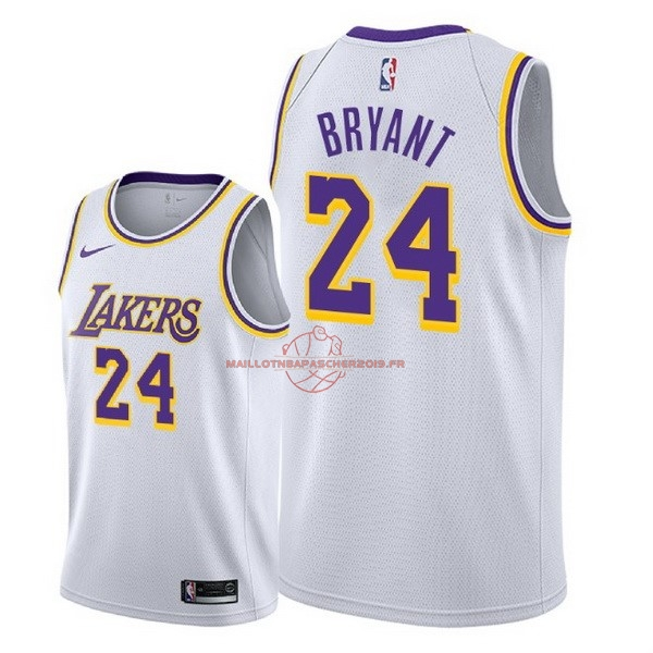 Achat Maillot NBA Nike Los Angeles Lakers NO.24 Kobe Bryant Blanc Association 2018-19 pas cher