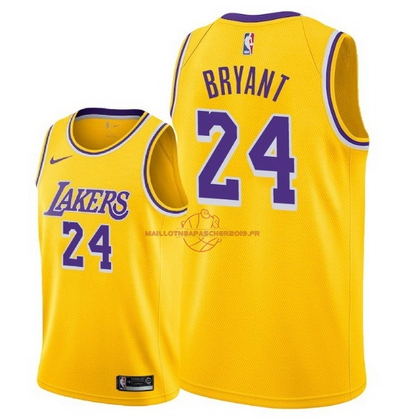 Achat Maillot NBA Nike Los Angeles Lakers NO.24 Kobe Bryant Jaune Icon 2018-19 pas cher