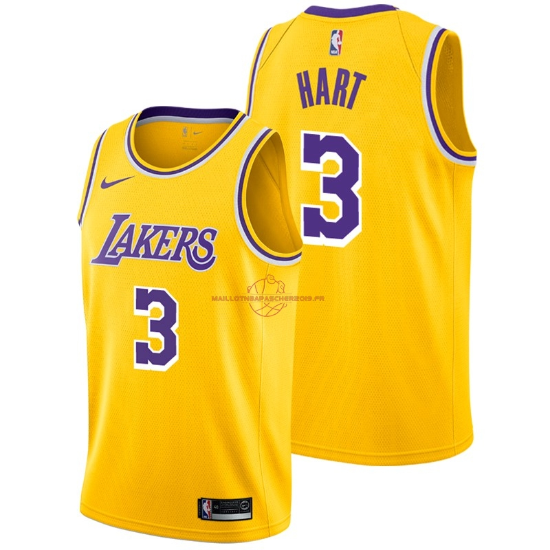 Achat Maillot NBA Nike Los Angeles Lakers NO.3 Josh Hart Jaune Icon 2018-19 pas cher