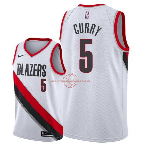 Achat Maillot NBA Nike Portland Trail Blazers NO.5 Seth Curry Blanc Association 2018 pas cher
