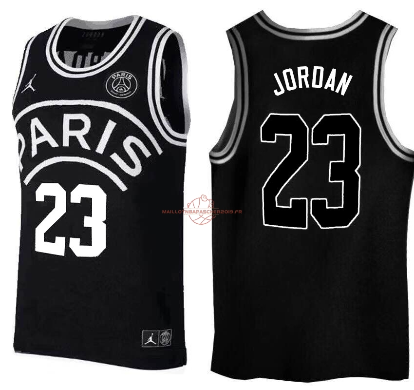 Achat Maillot Collaboration Maillot Basket-ball Jordan x Paris Saint-Germain NO.23 Jordan Noir Logo Blanc pas cher