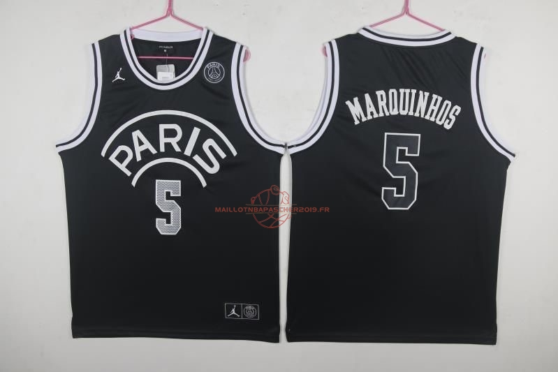 Achat Maillot Collaboration Maillot Basket-ball Jordan x Paris Saint-Germain NO.5 Marquinhos Noir pas cher