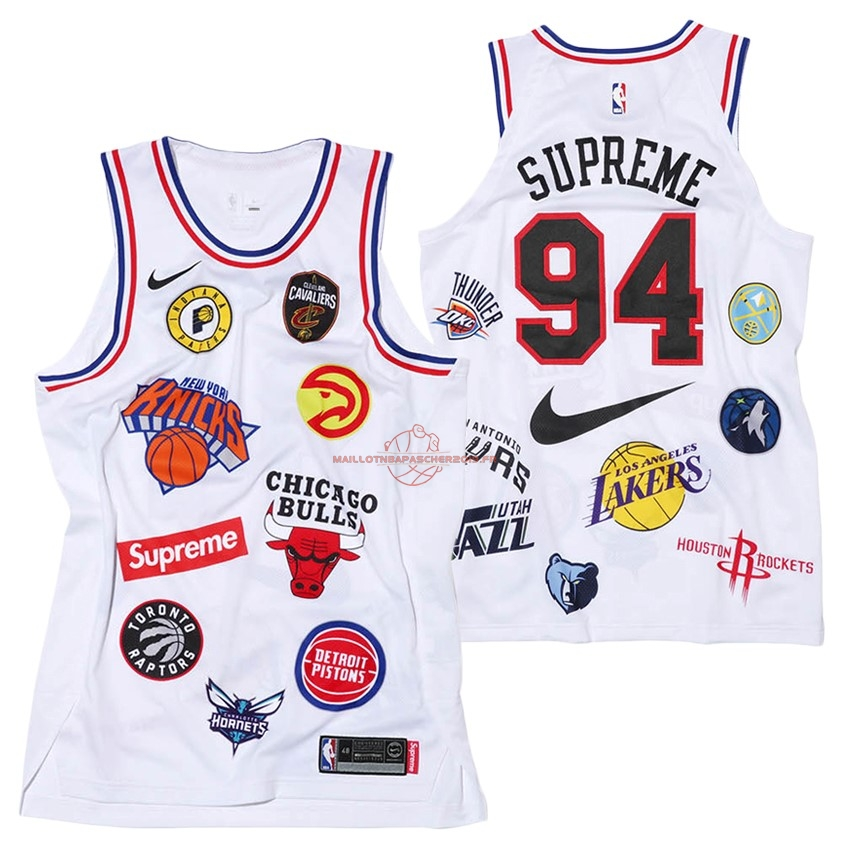 Achat Maillot Collaboration Maillot Basket-ball Supreme x Nike #94 Logo Blanc pas cher