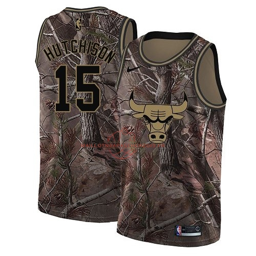 Achat Maillot NBA Chicago Bulls NO.15 Chandler Hutchison Camo Swingman Collection Realtree 2018 pas cher