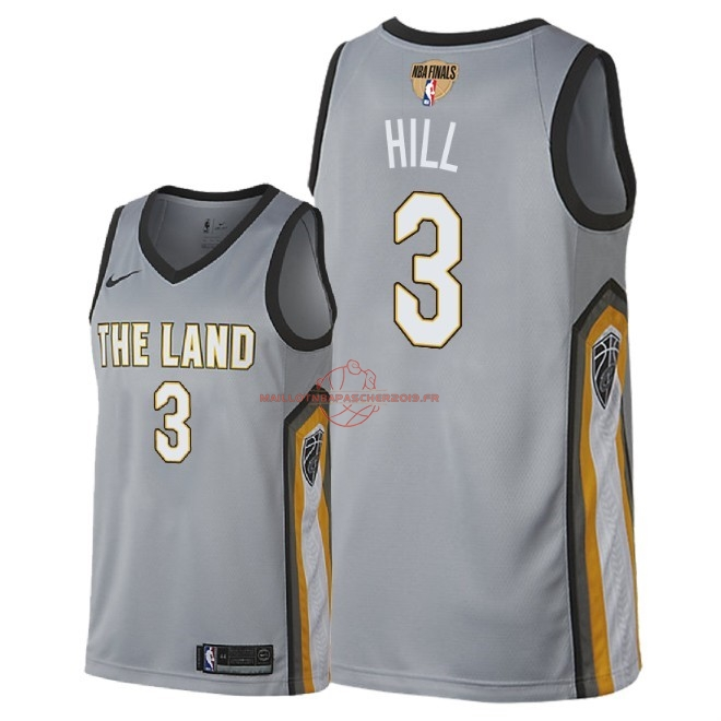 Achat Maillot NBA Cleveland Cavaliers 2018 Final Champions NO.3 George Hill Nike Gris Ville Patch pas cher