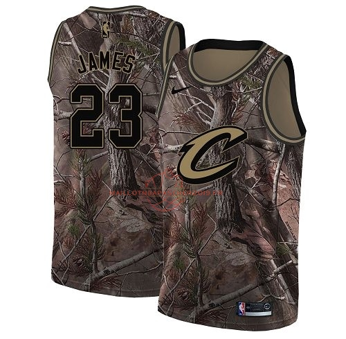 Achat Maillot NBA Cleveland Cavaliers NO.23 LeBron James Camo Swingman Collection Realtree 2018 pas cher