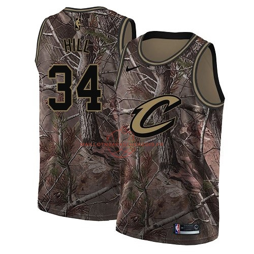 Achat Maillot NBA Cleveland Cavaliers NO.34 Tyrone Hill Camo Swingman Collection Realtree 2018 pas cher