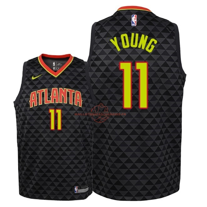 Achat Maillot NBA Enfant Atlanta Hawks NO.11 Trae Young Noir Icon 2018-19 pas cher