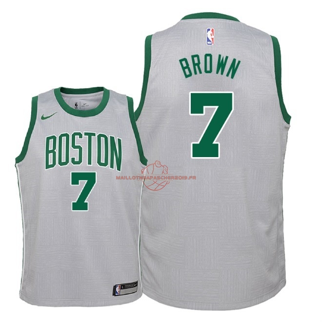 Achat Maillot NBA Enfant Boston Celtics NO.7 Jaylen Brown Nike Gris Ville 2018 pas cher
