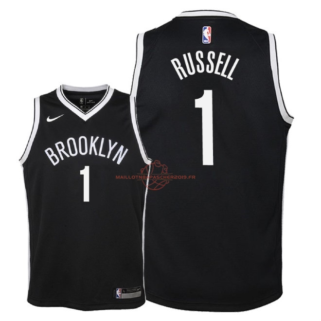 Achat Maillot NBA Enfant Brooklyn Nets NO.1 D'Angelo Russell Noir Icon 2018 pas cher