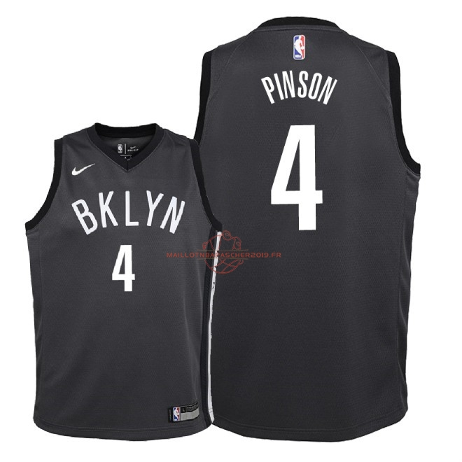 Achat Maillot NBA Enfant Brooklyn Nets NO.4 Theo Pinson Noir Statement 2018 pas cher