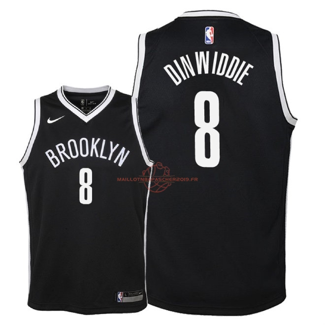 Achat Maillot NBA Enfant Brooklyn Nets NO.8 Spencer Dinwiddie Noir Icon 2018 pas cher