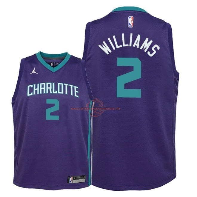 Achat Maillot NBA Enfant Charlotte Hornets NO.2 Marvin Williams Pourpre Statement 2018 pas cher