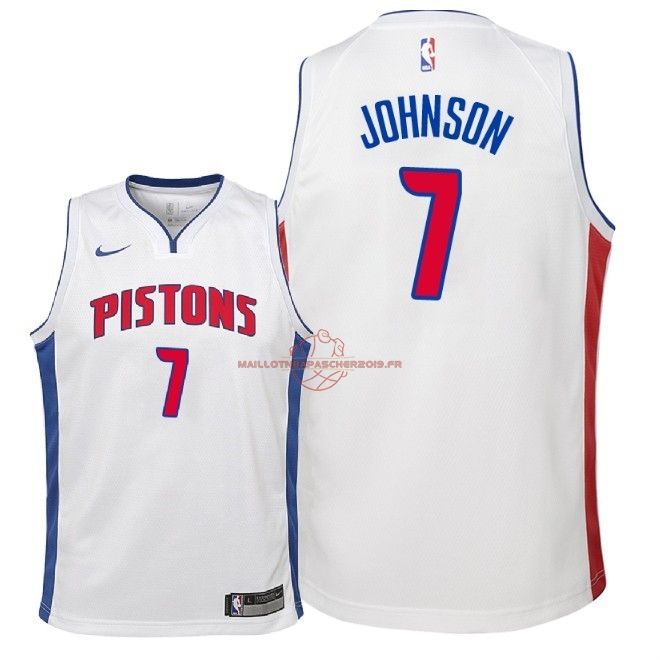 Achat Maillot NBA Enfant Detroit Pistons NO.7 Stanley Johnson Blanc Association 2018 pas cher