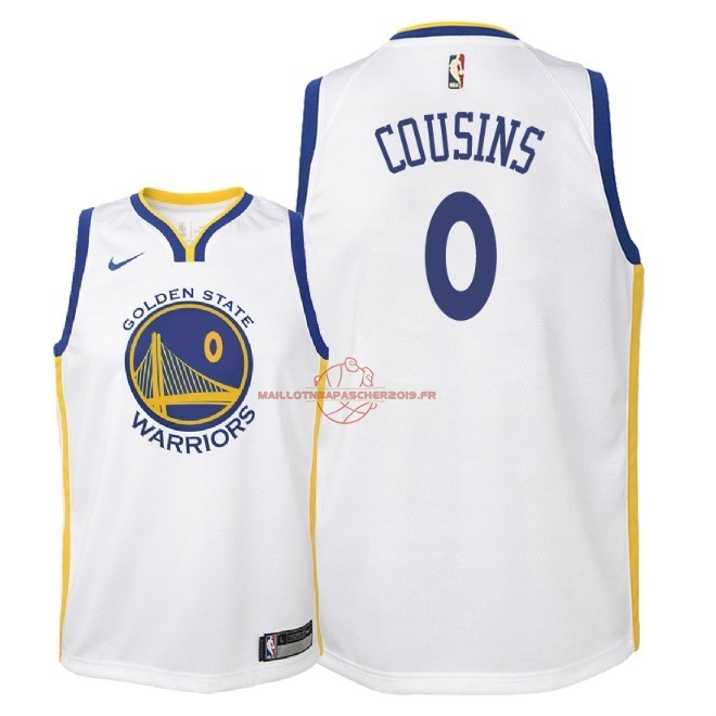 Achat Maillot NBA Enfant Golden State Warriors NO.0 DeMarcus Cousins Blanc Association 2018 pas cher