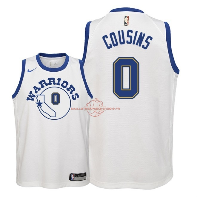 Achat Maillot NBA Enfant Golden State Warriors NO.0 DeMarcus Cousins Nike Retro Blanc 2018 pas cher