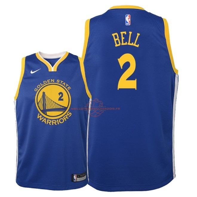 Achat Maillot NBA Enfant Golden State Warriors NO.2 Jordan Bell Bleu Icon 2018 pas cher