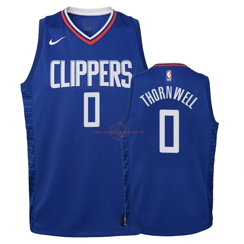 Achat Maillot NBA Enfant Los Angeles Clippers NO.0 Sindarius Thornwell Bleu Icon 2018 pas cher