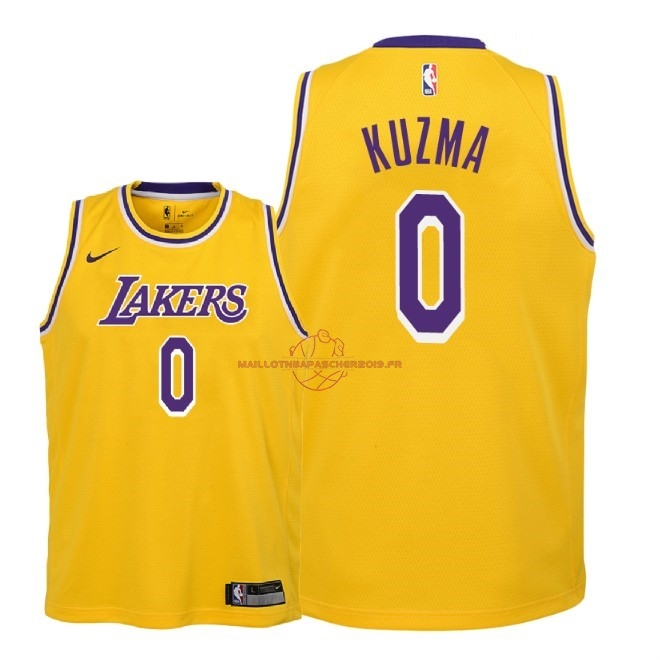 Achat Maillot NBA Enfant Los Angeles Lakers NO.0 Kyle Kuzma Jaune Icon 2018-19 pas cher