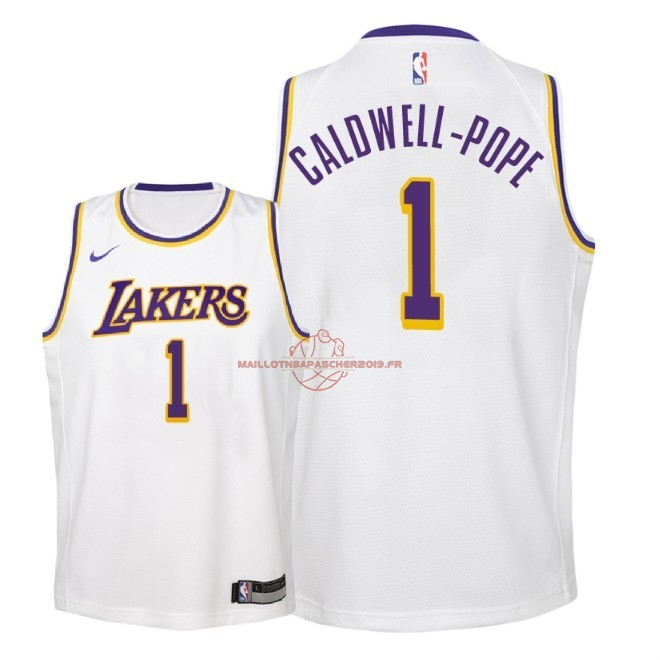 Achat Maillot NBA Enfant Los Angeles Lakers NO.1 Kentavious Caldwell Pope Blanc Association 2018-19 pas cher