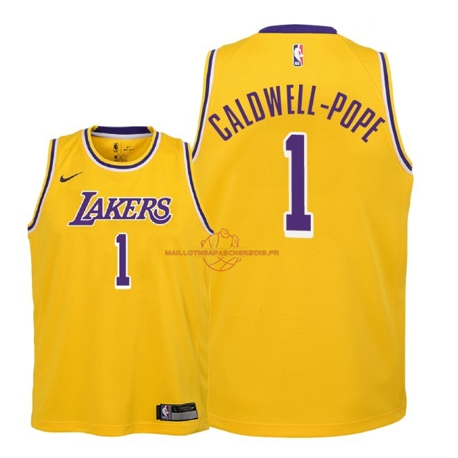 Achat Maillot NBA Enfant Los Angeles Lakers NO.1 Kentavious Caldwell Pope Jaune Icon 2018-19 pas cher