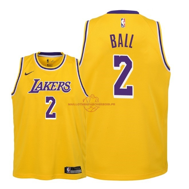 Achat Maillot NBA Enfant Los Angeles Lakers NO.2 Lonzo Ball Jaune Icon 2018-19 pas cher