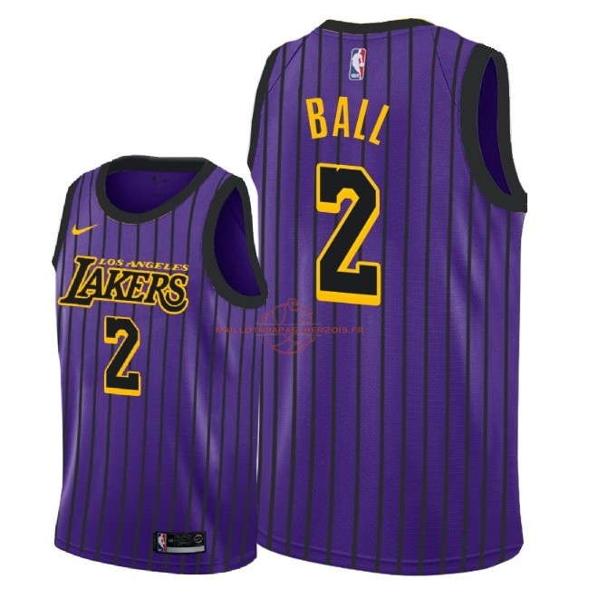 Achat Maillot NBA Enfant Los Angeles Lakers NO.2 Lonzo Ball Nike Pourpre Ville 2018-19 pas cher