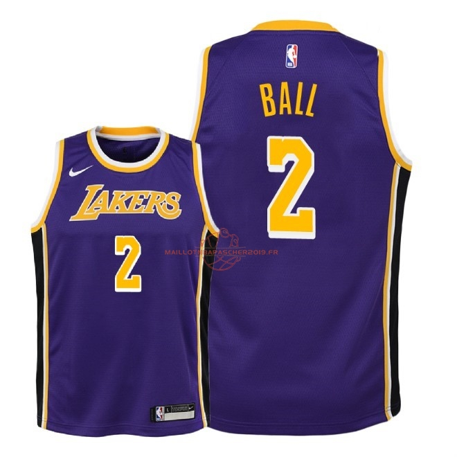 Achat Maillot NBA Enfant Los Angeles Lakers NO.2 Lonzo Ball Pourpre Statement 2018-19 pas cher