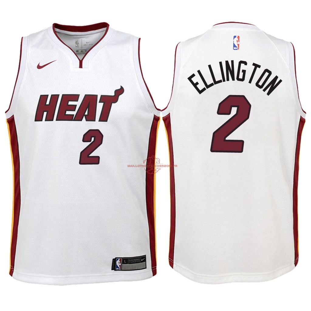 Achat Maillot NBA Enfant Miami Heat NO.2 Wayne Ellington Blanc Association 2018 pas cher