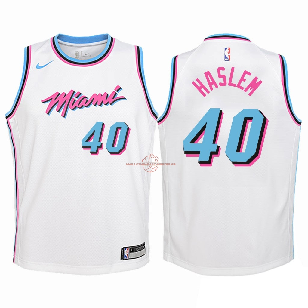a4fff226b927a Achat Maillot NBA Enfant Miami Heat NO.40 Udonis Haslem Nike Blanc Ville  2018 pas