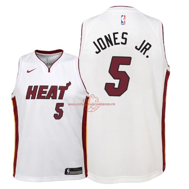 Achat Maillot NBA Enfant Miami Heat NO.5 Derrick Jones Jr Blanc Association 2018 pas cher