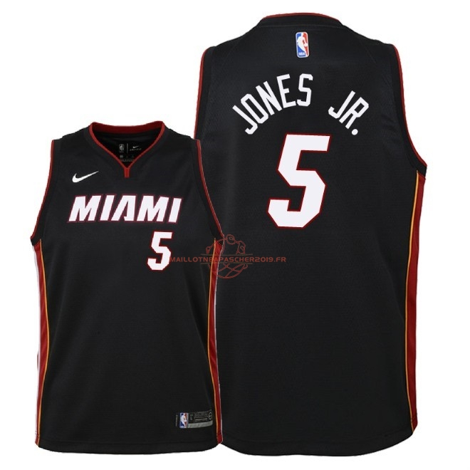Achat Maillot NBA Enfant Miami Heat NO.5 Derrick Jones Jr Noir Icon 2018 pas cher