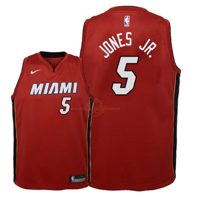 Achat Maillot NBA Enfant Miami Heat NO.5 Derrick Jones Jr Rouge Statement 2018 pas cher