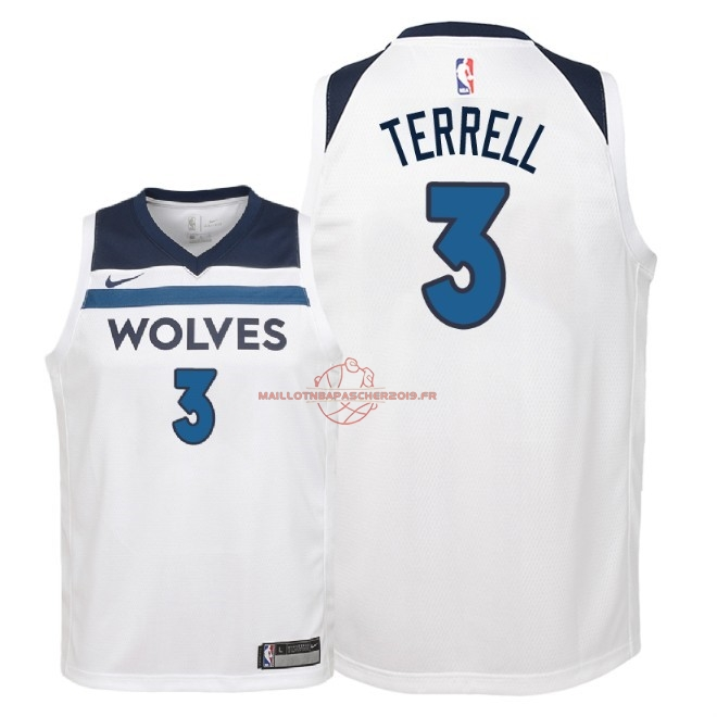 Achat Maillot NBA Enfant Minnesota Timberwolves NO.3 Jared Terrell Blanc Association 2018 pas cher
