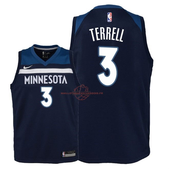 Achat Maillot NBA Enfant Minnesota Timberwolves NO.3 Jared Terrell Marine Icon 2018 pas cher
