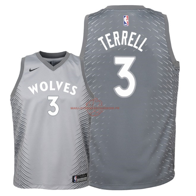 Achat Maillot NBA Enfant Minnesota Timberwolves NO.3 Jared Terrell Nike Gris Ville 2018 pas cher