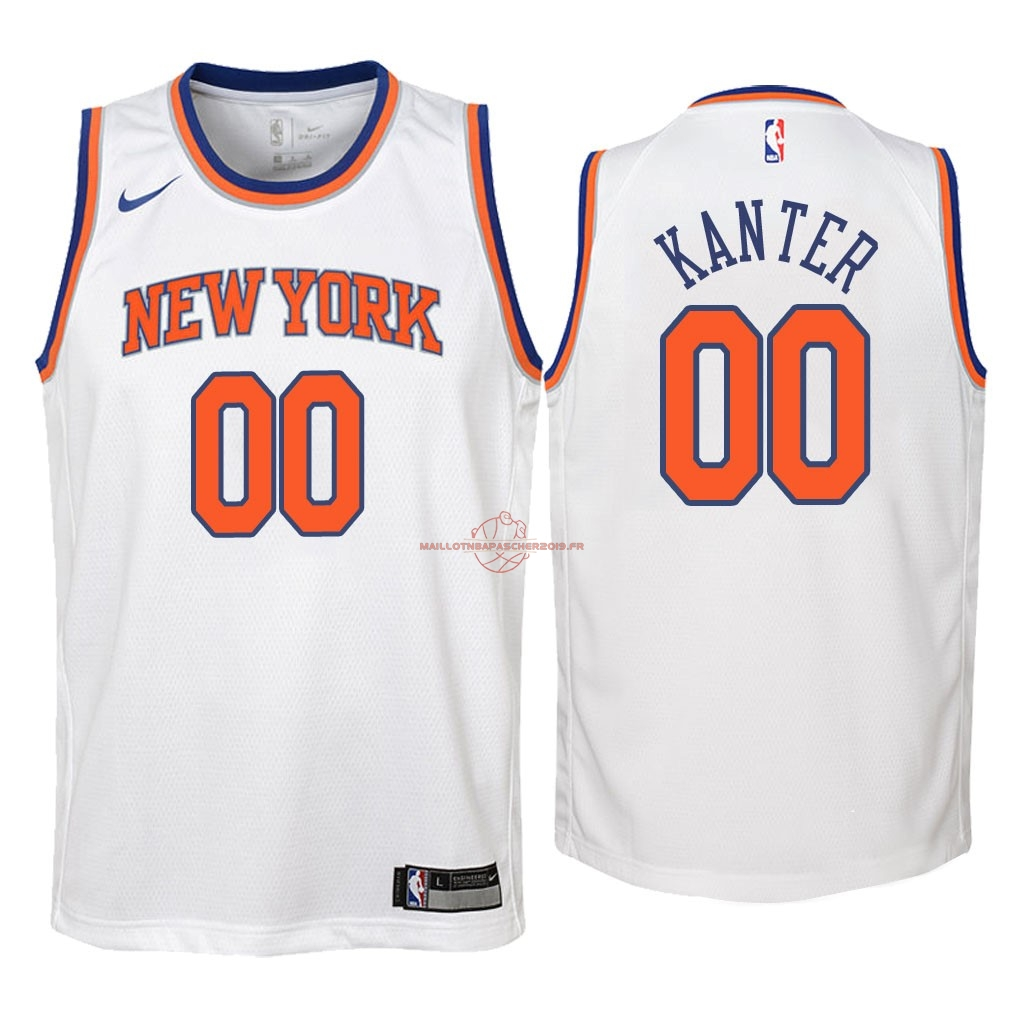 Achat Maillot NBA Enfant New York Knicks NO.0 Enes Kanter Blanc Association 2018 pas cher