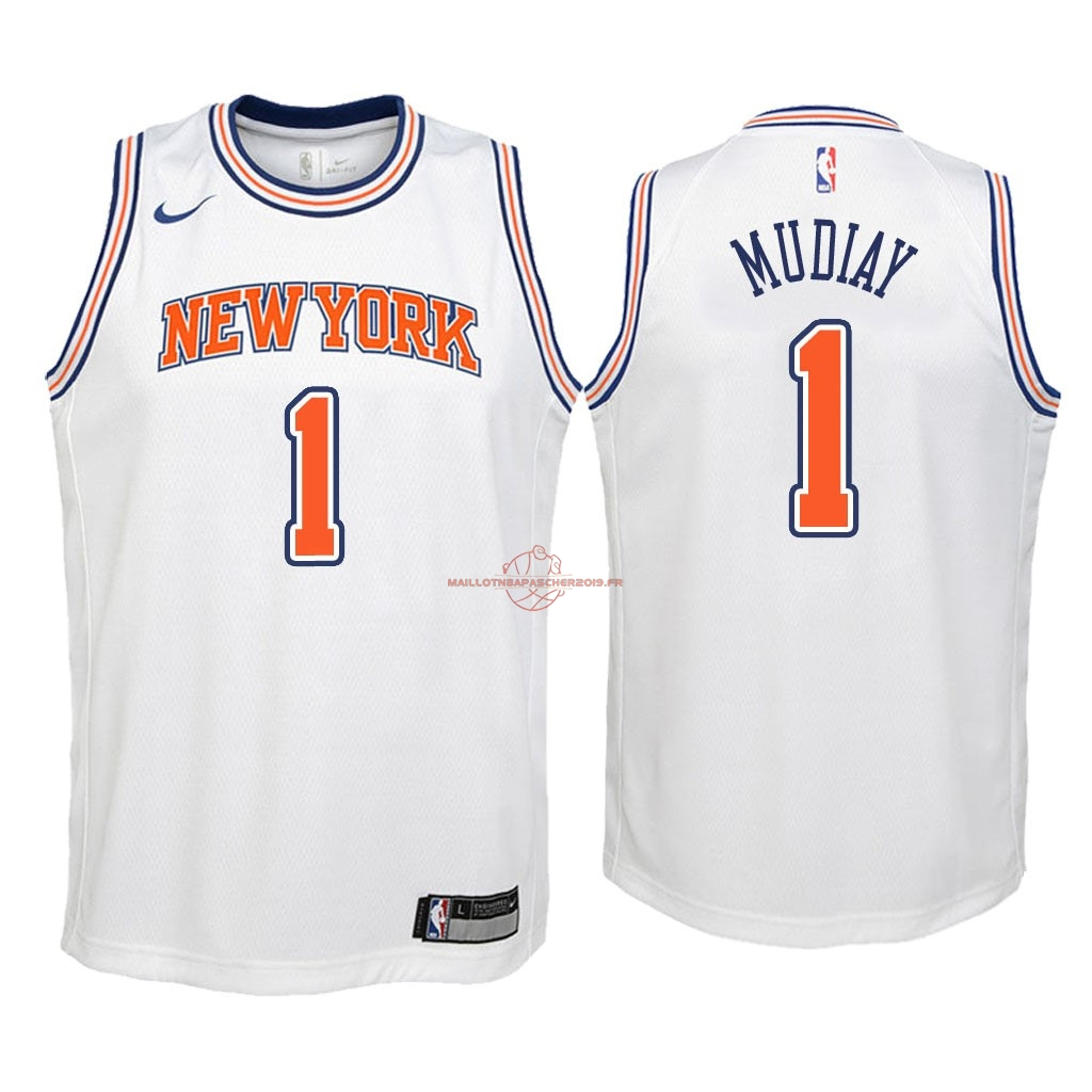 Achat Maillot NBA Enfant New York Knicks NO.1 Emmanuel Mudiay Blanc Statement 2018 pas cher