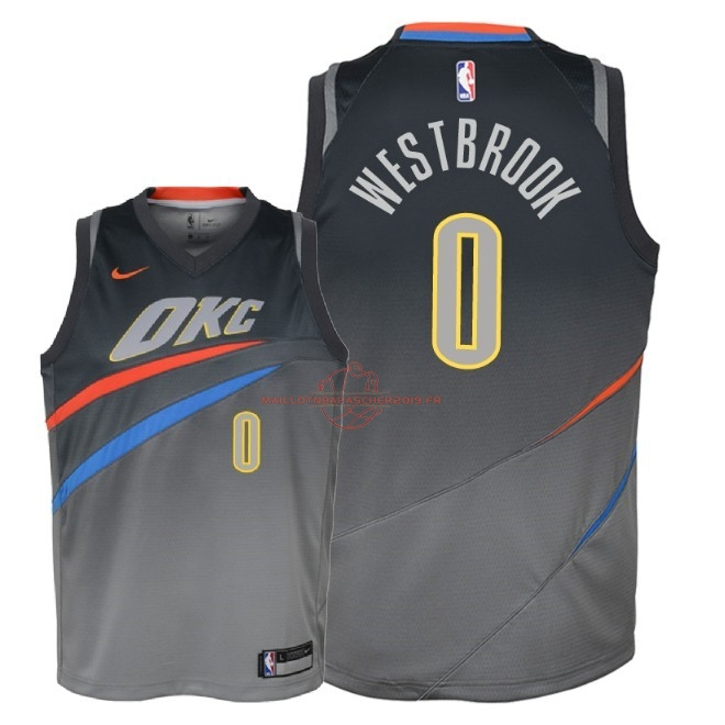 Achat Maillot NBA Enfant Oklahoma City Thunder NO.0 Russell Westbrook Nike Gris Ville 2018 pas cher