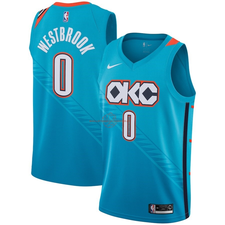 Achat Maillot NBA Enfant Oklahoma City Thunder NO.0 Russell Westbrook Nike Turquoise Ville 2018-19 pas cher