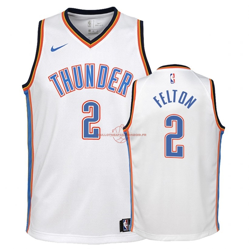 Achat Maillot NBA Enfant Oklahoma City Thunder NO.2 Raymond Felton Blanc Association 2018 pas cher