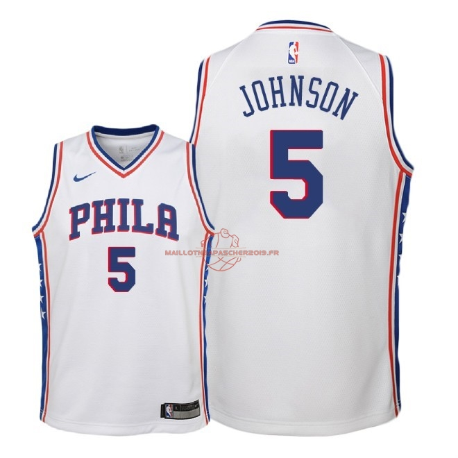 Achat Maillot NBA Enfant Philadelphia Sixers NO.5 Amir Johnson Blanc Association 2018 pas cher