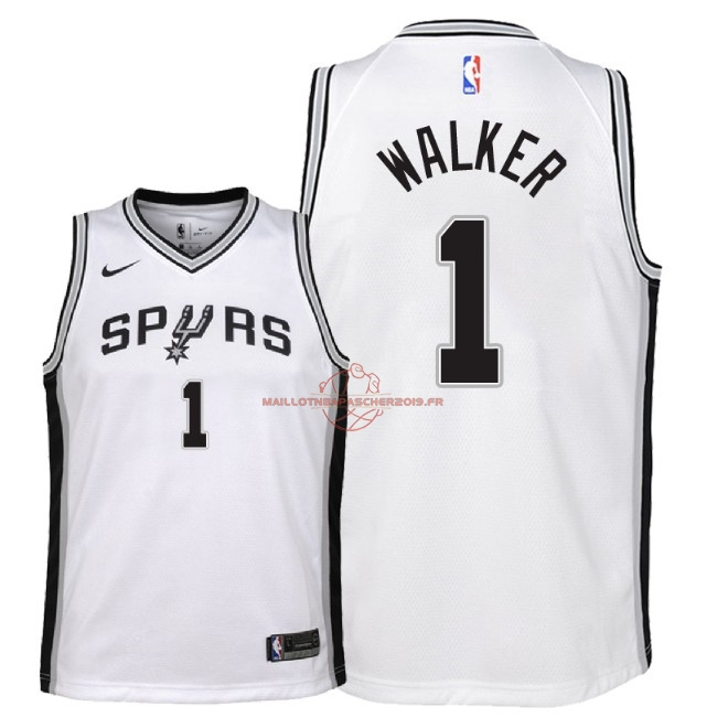 Achat Maillot NBA Enfant San Antonio Spurs NO.1 Lonnie Walker Blanc Association 2018 pas cher