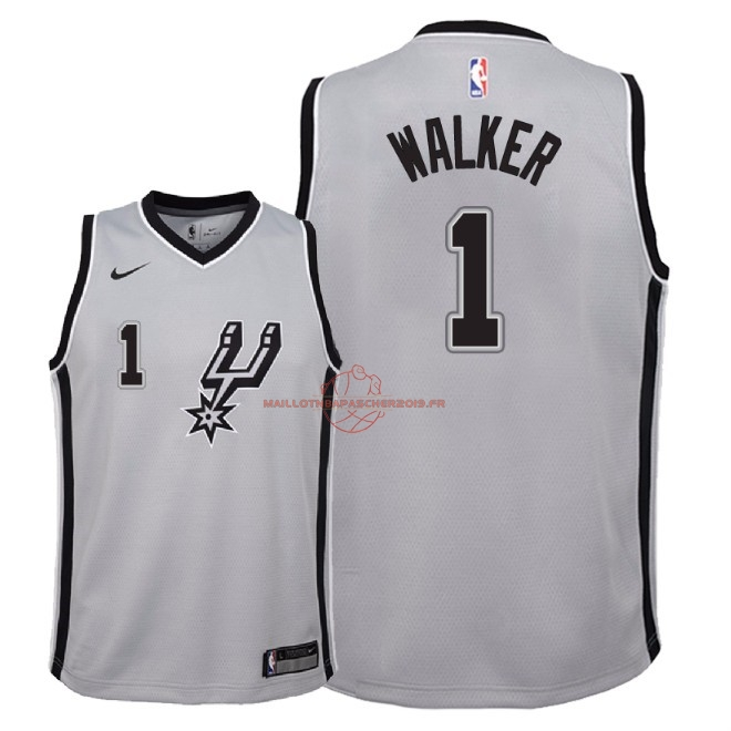 Achat Maillot NBA Enfant San Antonio Spurs NO.1 Lonnie Walker Gris Statement 2018 pas cher