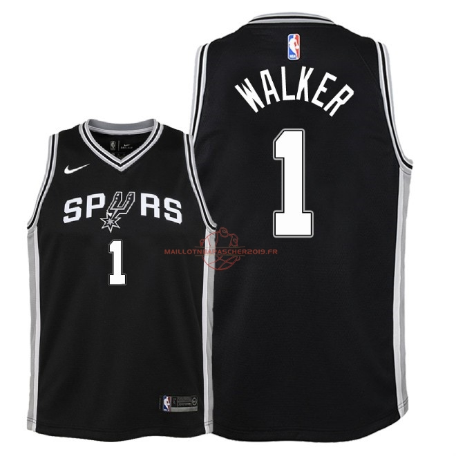Achat Maillot NBA Enfant San Antonio Spurs NO.1 Lonnie Walker Noir Icon 2018 pas cher