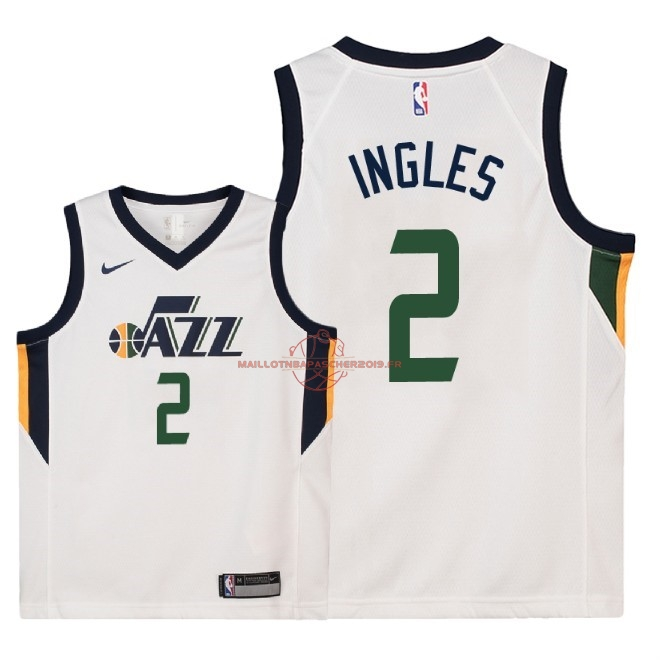 Achat Maillot NBA Enfant Utah Jazz NO.2 Joe Ingles Blanc Association 2018 pas cher