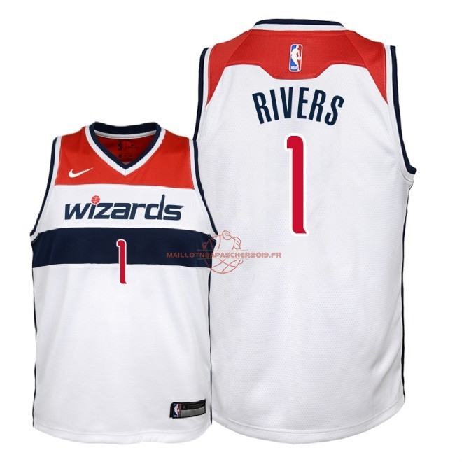 Achat Maillot NBA Enfant Washington Wizards NO.1 Austin Rivers Blanc Association 2018 pas cher