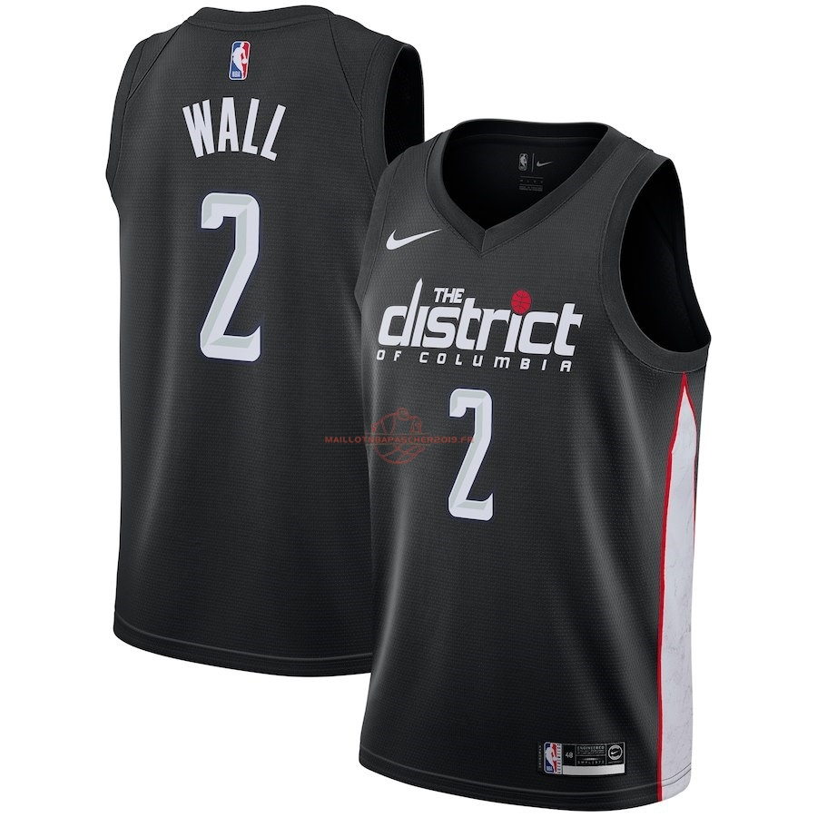 Achat Maillot NBA Enfant Washington Wizards NO.2 John Wall Nike Noir Ville 2018-19 pas cher