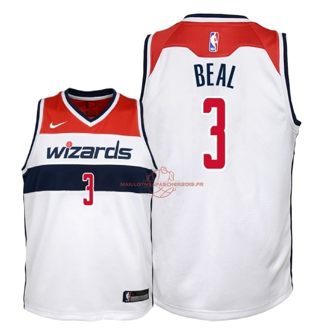 Achat Maillot NBA Enfant Washington Wizards NO.3 Bradley Beal Blanc Association 2018 pas cher