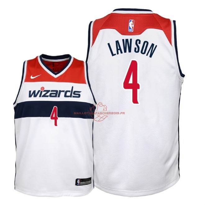 Achat Maillot NBA Enfant Washington Wizards NO.4 Ty Lawson Blanc Association 2018 pas cher